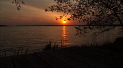 Green Lake Sunset Stock Footage