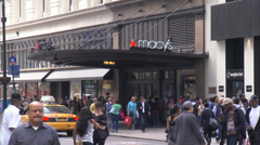 Macy's Flagship Store. Macys Entrance on 34th Street. Stock Footage