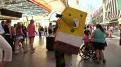 Person in Spongebob costume on Fremont Las Vegas Stock Footage
