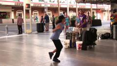 Dancing Performance by young man on Fremont Street Stock Footage
