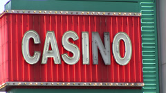 Casino neon light sign flashing Stock Footage