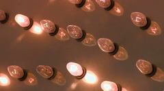 Lights flashing close up on bulbs Stock Footage