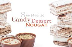 Chocolate and sweets over white Stock Photos