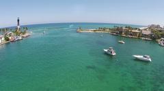 Boat inlet on the Florida coastline Stock Footage