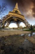 Dramatic Sky Colors above Eiffel Tower in Paris Stock Photos