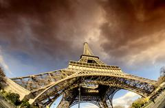 Bad Weather approaching Eiffel Tower Stock Photos