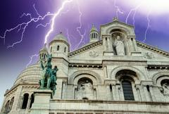Stormy Weather above Sacre Coeur in Paris - stock photo