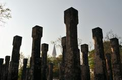 Pillars in Ancient city of Polonnaruwa, Sri Lanka - stock photo