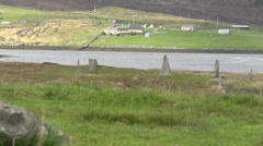 Callanish 2 standing stones viewed from Callanish 3 Isle of Lewis Scotland Stock Footage