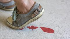 Leaving Mark Footstep Canada - stock photo