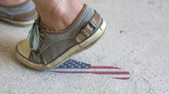 Stock Photo of Leaving Mark Footstep USA