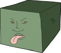 Unhappy face on cube Stock Illustration
