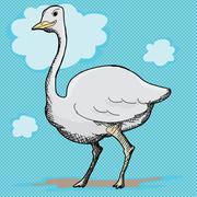 ostrich cartoon - stock illustration