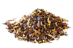 caffeine mix of mate, black tea, and red rooibos with cocoa, cho - stock photo