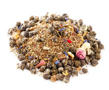 Jasmine pearls green tea with red and green rooibos blend, over Stock Photos