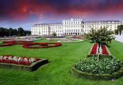 Gardens and Flowers In Schoenbrunn Castle, Vienna - stock photo