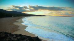 HD Tropical Beach at Sunrise, Jib Crane Shot, Maui Hawaii Stock Footage