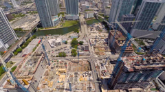 Aerial Brickell Miami River Stock Footage