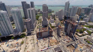 Stock Video Footage of Aerial Brickell side flight construction sites