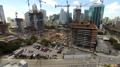 Aerial Brickell construction of city center Stock Footage