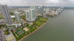 Aerial buildings north bayshore dr approach - stock footage