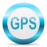 Stock Illustration of blue white circle web glossy icon