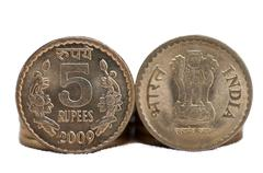 Closeup Indian Coin 5 rupees isolated white background copy spac - stock photo