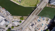 Stock Video Footage of Aerial Miami River Mint Ivy Wind condominium