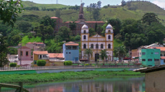 Spanish Style Catholic Church in Brazil Stock Footage