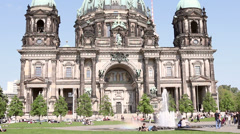 Fountain next to Berlin Cathedral Stock Footage