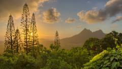 Beautiful Landscape Dawn, Pali, Oahu, Hawaii, HDR Time Lapse 4k - stock footage