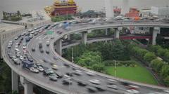 Timelapse of traffic on Nanpu Spiral ,  Shanghai, China Stock Footage