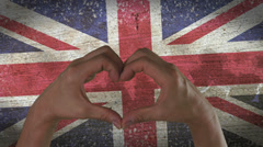 Hands Heart Symbol UK Flag Stock Footage