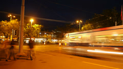 night city traffic time lapse. cars street lights. 4K background - stock footage
