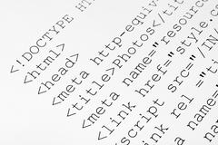 Printed internet html code Stock Photos