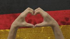 Hands Heart Symbol German Flag - stock photo