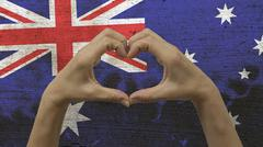 Hands Heart Symbol Australian Flag - stock photo