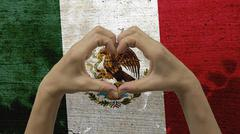 Stock Photo of Hands Heart Symbol Mexico Flag