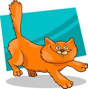 running red fluffy cat - stock illustration