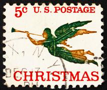 Postage stamp USA 1965 Angel with Trumpet, Christmas Stock Photos