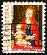 Postage stamp USA 1966 Madonna and Child with Angels by Hans Mem - stock photo