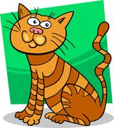 red sitting cat - stock illustration