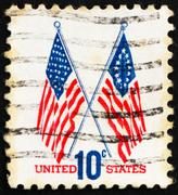 Postage stamp USA 1973 50-Star and 13-Star Flags Stock Photos