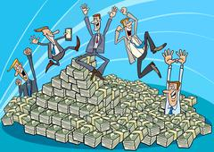 Stock Illustration of Happy businessmen and heap of money