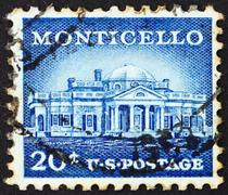 Postage stamp USA 1956 Monticello - stock photo