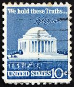 Postage stamp USA 1973 Jefferson Memorial and Signature - stock photo