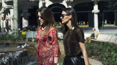 Women walking and talking in park, slow motion shot at 120fps, steadycam shot Stock Footage
