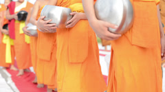 buddhist monks alms bowl walking - stock footage