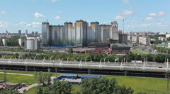 View of Kubinskaya street and WHSD road, St. Petersburg, Russia Stock Footage