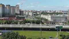 Western High-Speed Diameter and Leninsky avenue, St. Petersburg, Russia Stock Footage